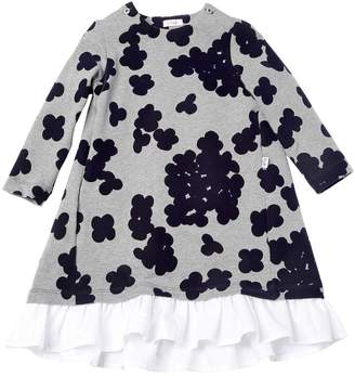 Il Gufo Floral Flocked Cotton Jersey Dress