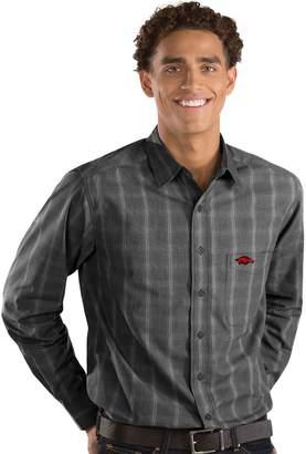 Antigua Men's Arkansas Razorbacks Plaid Pattern Button-Down Shirt