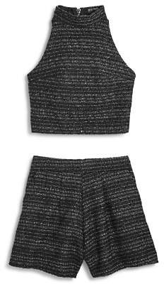 SIA Miss Behave Girls' Tweed Tank & Shorts Set - Big Kid