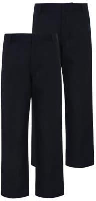 George Boys Navy Slim Leg School Trousers 2 Pack
