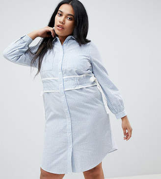 Asos Lost Ink Plus Shirt Dress In Stripe With Waist Detail