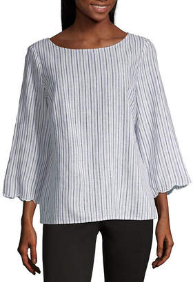 Liz Claiborne Scalloped Edge Linen Top - Tall