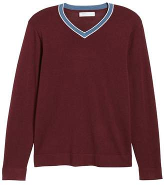 Nordstrom Signature Varsity Merino Wool Blend V-Neck Sweater