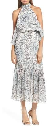Foxiedox Amina Pompom Halter Tea Length Dress