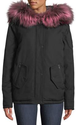 Moose Knuckles Kingscroft Parka Jacket w/ Fur Trim & Hood