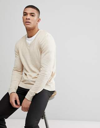 Asos DESIGN V-Neck Cotton Sweater In Oatmeal