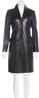 Tahari Leather Knee-Length Coat