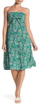 Mimichica Mimi Chica Front Tie Floral Print Strapless Midi Dress