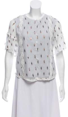 Tryb 212 Short Sleeve Chiffon Print Top w/ Tags