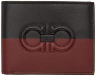 Salvatore Ferragamo Red and Black Gancini Bifold Wallet