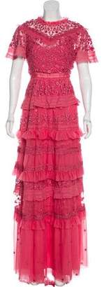 Needle & Thread Embroidered Ruffle-Accented Dress w/ Tags