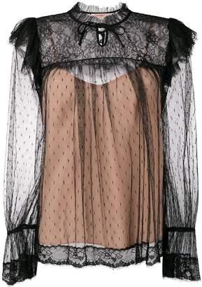 Twin-Set sheer tulle detail blouse