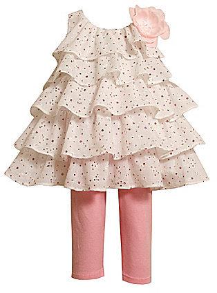 Bonnie Jean Toddler Tiered Eyelet Dress & Knit Capri Leggings