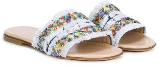 Ermanno Scervino beaded fringed slides