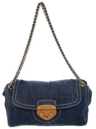 Prada Leather-Trimmed Denim Bag