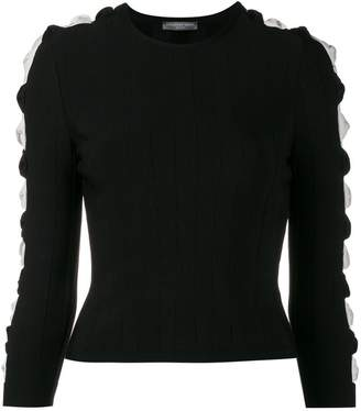 Alexander McQueen ribbed cut-out sleeve jumper