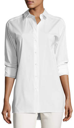 Lafayette 148 New York Dannell Button-Front Stretch-Cotton Blouse, Plus Size