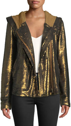 Free People Sequined Zip-Front Hoodie