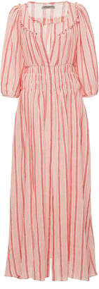 Arabella Three Graces London Shirred Cotton-Voile Maxi Dress