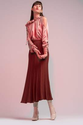 Genuine People Pleated Knit Maxi Skirt