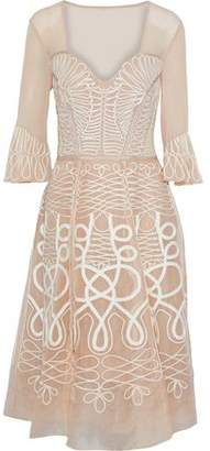 Temperley London Point D'esprit-Paneled Embroidered Silk-Organza Midi Dress