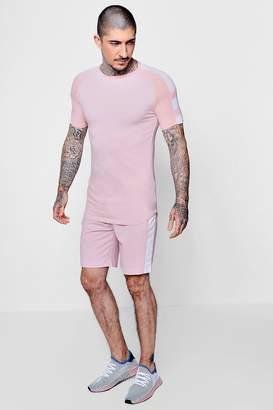 boohoo Muscle Fit Raglan T-Shirt & Short Set