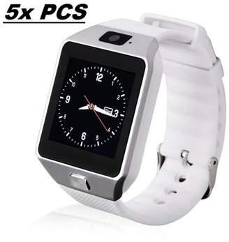 AmazingForLess 5 Pack DZ-09 White Smart Watch Wholesale Lot Touch Screen Bluetooth Smart Wrist Watch - Supports SIM + Memory Card