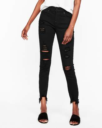 Express Mid Rise Black Destroyed Stretch Ankle Jean Leggings