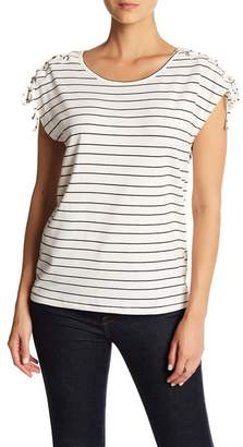 C&C California Lace-Up Sleeve Stripe Print Top