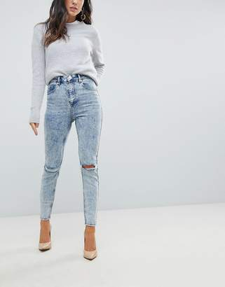 Asos Super High Rise Firm Skinny Jeans in Acid Wash Blue with Ripped Knees