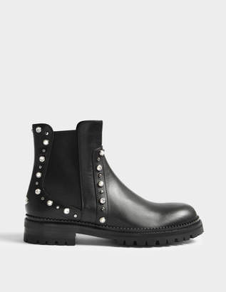 Jimmy Choo Burrow Flat Boots with Pearls in Black Mix Leather with Beads and Crystals