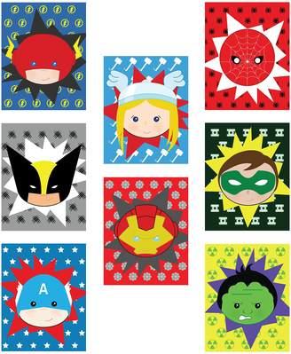 "Spiderman Children Inspire Design Kid's Playroom Decor, Superheros Eight 5x7"" Set For Kids, Baby Boy Nursery Decor, Green Lantern, Flash, Spiderman, Captain America, Superhero Wall Art, Marvel Wall Art"