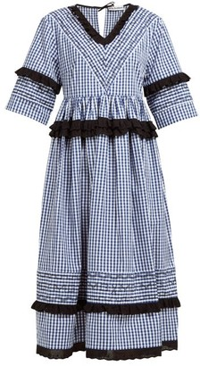 Molly Goddard Frank Cross Stitched Gingham Cotton Midi Dress - Womens - Navy
