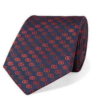 Gucci 7.5cm Degrade Embroidered Silk-Faille Tie - Men - Midnight blue