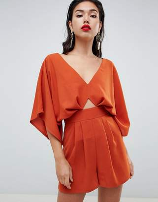 Asos (エイソス) - ASOS DESIGN Romper With Kimono Sleeve And Cut Out