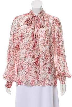 Giambattista Valli Silk Floral Print Top