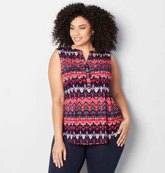 Avenue Pleated Ikat Popover Top