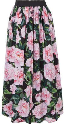 Dolce & Gabbana Gathered Floral-print Cotton-poplin Maxi Skirt - Pink