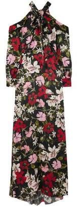 Erdem Anora Cold-shoulder Floral-print Silk-satin Gown