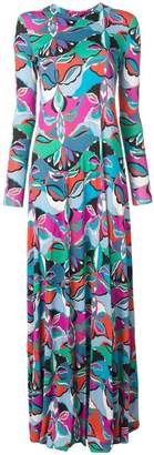 Emilio Pucci round neck long sleeved long shift dress