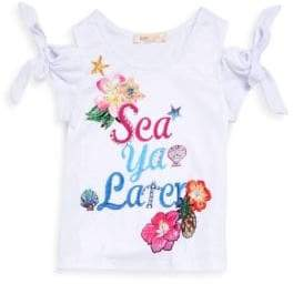 Little Girl's Graphic Print Cold-Shoulder Tee