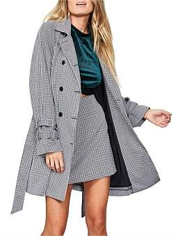 MinkPink Check Trench Coat