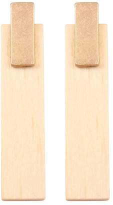 Riah Fashion Metal-With-Wood Bar-Post-Earrings