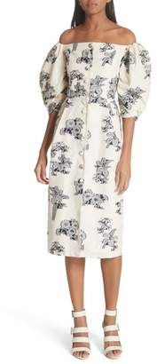 Sea Josephine Floral Print Off the Shoulder Dress