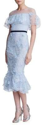 Marchesa Illusion Embroidered Mermaid Dress