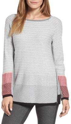 Nic+Zoe Balance Side Zip Cotton Blend Sweater