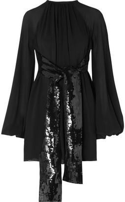 6144a34d25 Saint Laurent Sequin-embellished Silk-georgette Mini Dress - Black