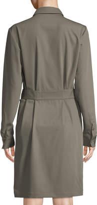 Tomas Maier Long-Sleeve Belted Wool Shirt Dress