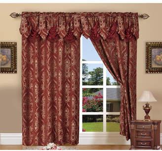"Elegant Comfort Elegance Linen Luxury Jacquard Curtain Panel Set with Attached Valance 55"" x 84"" - Set of 2 Bedding"