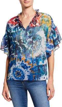 Alice + Olivia Julius Tie-Dye Ruffle-Sleeve Tunic Top